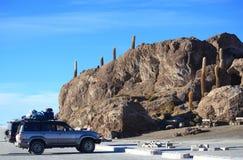Isla印加瓦西峰在撒拉族de Uyuni 库存照片