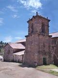 isla的教会taguile在lago titicaca 免版税图库摄影