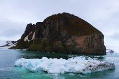 ISLA ÁRTICA E ICEBER Foto de archivo libre de regalías