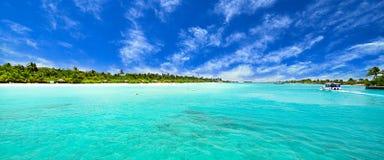 Isla asombrosa y playa prístina en Maldivas Foto de archivo libre de regalías
