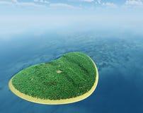 Isla bajo la forma de corazón Foto de archivo libre de regalías
