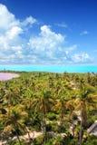 Isla caribeña tropical de Contoy de la visión aérea Foto de archivo