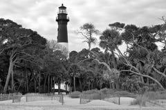 Isla Carolina Lighthouse del sur de la caza Imagenes de archivo