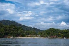 Isla Coiba Panama. Hermosa vista de la llegada a Isla Coiba Panama, mazing view of the arrival to Coiba Island in Panama Stock Photography