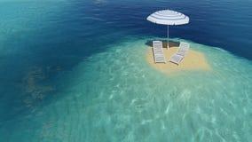 Isla con el paraguas Ilustración del Vector
