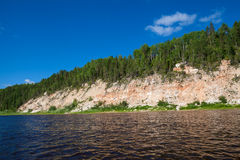 Isla con el río del bosque Fotos de archivo