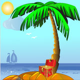 Isla con la palma y caja con el oro (en) ilustración del vector