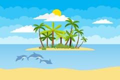 Isla con las palmeras en el medio del océano Paisaje del mar de la isla con las palmeras y los delfínes en el mar stock de ilustración
