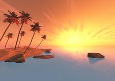 Isla con las palmeras en la puesta del sol Imágenes de archivo libres de regalías