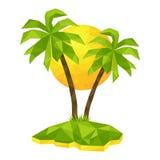 Isla con las palmeras y el sol Fotografía de archivo