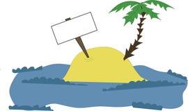 Isla con una palma y una tablilla Foto de archivo
