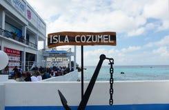 Isla Cozumel Sign Port Of appell på norsk kryssning Fotografering för Bildbyråer