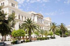 Isla de ayuntamiento de Ermoupolis Syros Grecia Cícladas Fotografía de archivo
