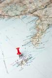 Isla de Capri en un mapa Fotos de archivo libres de regalías