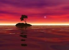 Isla de desierto romántica con la silueta de la palmera Fotos de archivo libres de regalías