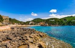 Isla de España Mallorca, playa de la playa del campo de marcha fotografía de archivo libre de regalías