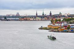 Isla de Gamla Stan y de Beckholmen en Estocolmo Foto de archivo libre de regalías