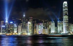 Isla de Hong-Kong, demostración del laser Imágenes de archivo libres de regalías