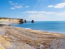 Isla de la bahía del alumbre de la costa del Wight al lado de las agujas fotos de archivo libres de regalías