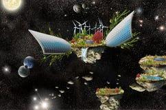 Isla de la fantasía con los paneles solares y la turbina de viento Fotos de archivo libres de regalías