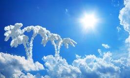 Isla de la fantasía en cielo Foto de archivo