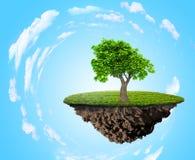 Isla de la hierba verde con el árbol stock de ilustración