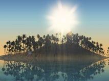 isla de la palmera 3D con el cielo soleado Imágenes de archivo libres de regalías