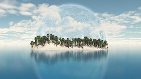 isla de la palmera 3D con el planeta en el cielo Fotografía de archivo