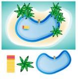 Isla de la piscina en elementos del verano Foto de archivo