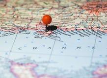 Isla de la ubicación del Wight fijada en el mapa de ruta Fotografía de archivo