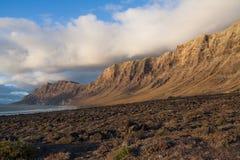 Isla de Lanzarote, Los Mariscales en la puesta del sol Imágenes de archivo libres de regalías