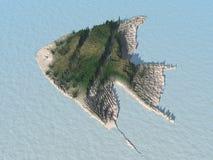 Isla de los pescados del ángel - ficticia ilustración del vector