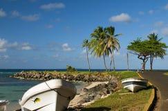 Isla de maíz grande de North End de los barcos del Panga Nicaragua Imagenes de archivo