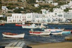 Isla de Mykonos del puerto Foto de archivo