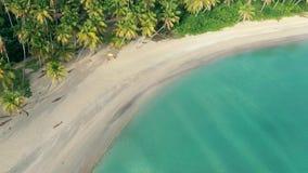 Isla de palmas que sorprende Agua de mar de la turquesa, playa blanca de la arena y palmeras del peaje almacen de metraje de vídeo
