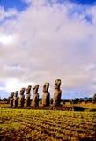 Isla de pascua de las estatuas de Moai foto de archivo libre de regalías