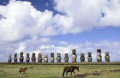 Isla de pascua Moai - Chile Imagen de archivo
