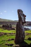 Isla de Pascua Rapa Nui Isla de pascua Threesome foto de archivo