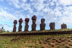 Isla de Pascua Rapa Nui Isola di pasqua Threesome Fotografie Stock