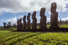 Isla de Pascua Rapa Nui Isola di pasqua Threesome Immagini Stock Libere da Diritti