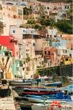 Isla de Procida, puerto de Corricella Foto de archivo