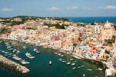 Isla de Procida, puerto de Corricella Foto de archivo libre de regalías