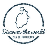 Isla de Providencia Map Outline. Vintage Discover the World Rubber Stamp with Island Map. Hipster Style Nautical Insignia, with Round Rope Border. Travel Stock Photo