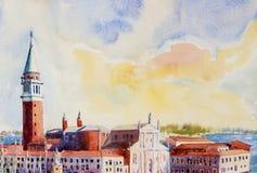 Isla de San Giorgio Maggiore, Venecia, Véneto, Italia ilustración del vector
