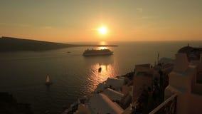 Isla de Santorini del lapso de tiempo, Grecia en puesta del sol impresionante almacen de metraje de vídeo