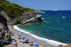 Isla de Skopelos de la playa de Perivoliou Fotos de archivo