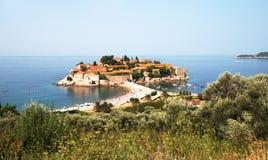 Isla de Sveti Stefan en Montenegro Foto de archivo libre de regalías