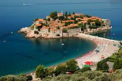Isla de Sveti Stefan/isla de Stefan del santo Imágenes de archivo libres de regalías
