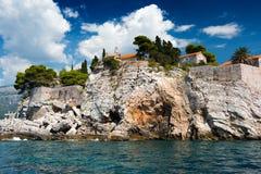 Isla de Sveti Stefan, Montenegro, Balcanes, mar adriático foto de archivo