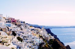 Isla de Thera Santorini Oia de la hermosa vista con Volcano And Ships Greece Imágenes de archivo libres de regalías
